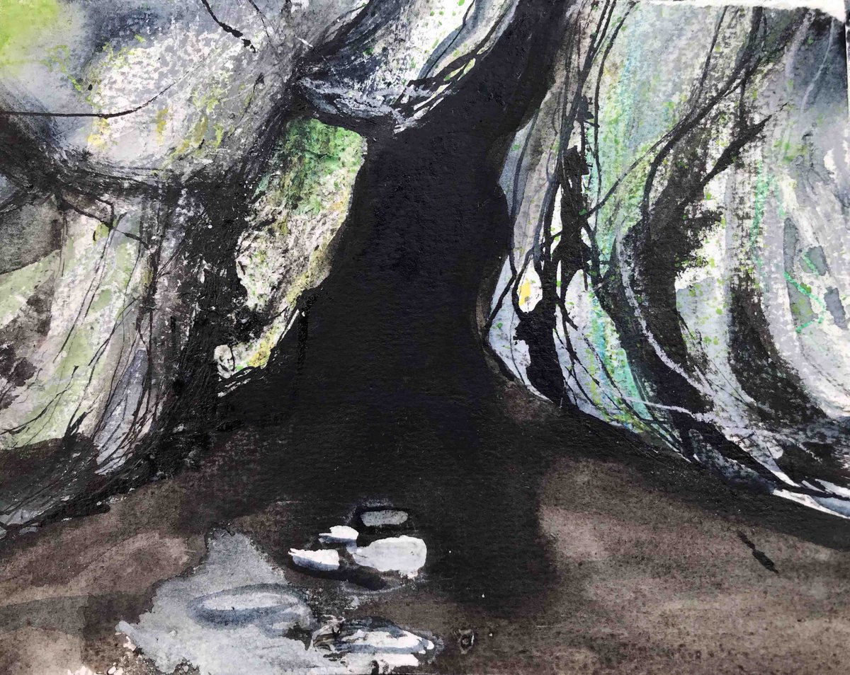 A further cave sketch - this one sums up my feeling about Coronavirus. #Arran #wip #sketch #ink #oilpastel #coronavirus #peakdistrictartisanspic.twitter.com/MIhPL5iMuw