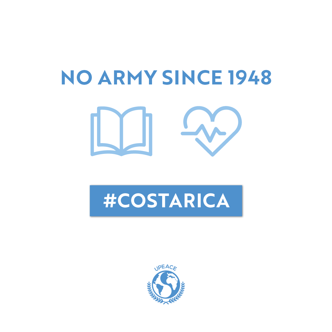 Its no coincidence that the #UN  established #UPEACE  in #CostaRica . This small country banned its army in 1948 and uses those funds to provide free education and healthcare for its citizens.  Learn more about UPEACE here:  https://www.upeace.org/pages/about-upeace  …