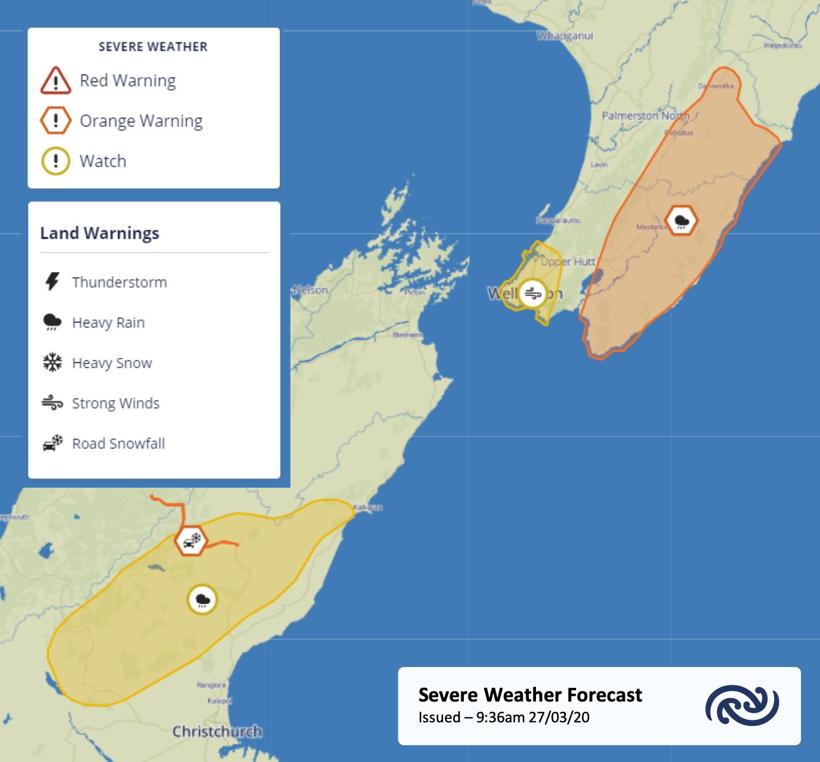 A handful of watches and warnings issued for Aotearoa. Details at bit.ly/AllWarnings   Kia haumaru!   ^Tui https://t.co/pFUmnAqkbV
