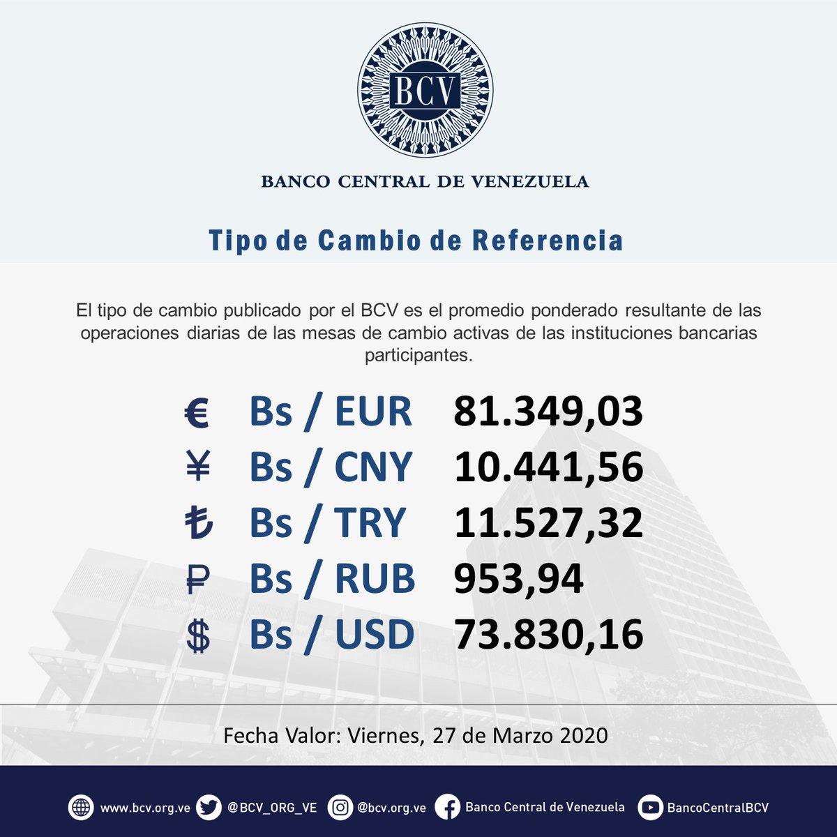 Atención|| El tipo de cambio publicado por el BCV es el promedio ponderado de las operaciones de las mesas de cambio de las instituciones bancarias. Al cierre de la jornada del jueves 26-03-2020, los resultados son:  #MercadoCambiario #BCVpic.twitter.com/Zmk47IEwn3