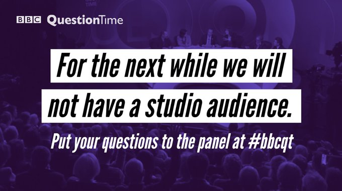 You can join our virtual audience and send a question from home next week here: bbc.in/3dwI5fc #bbcqt