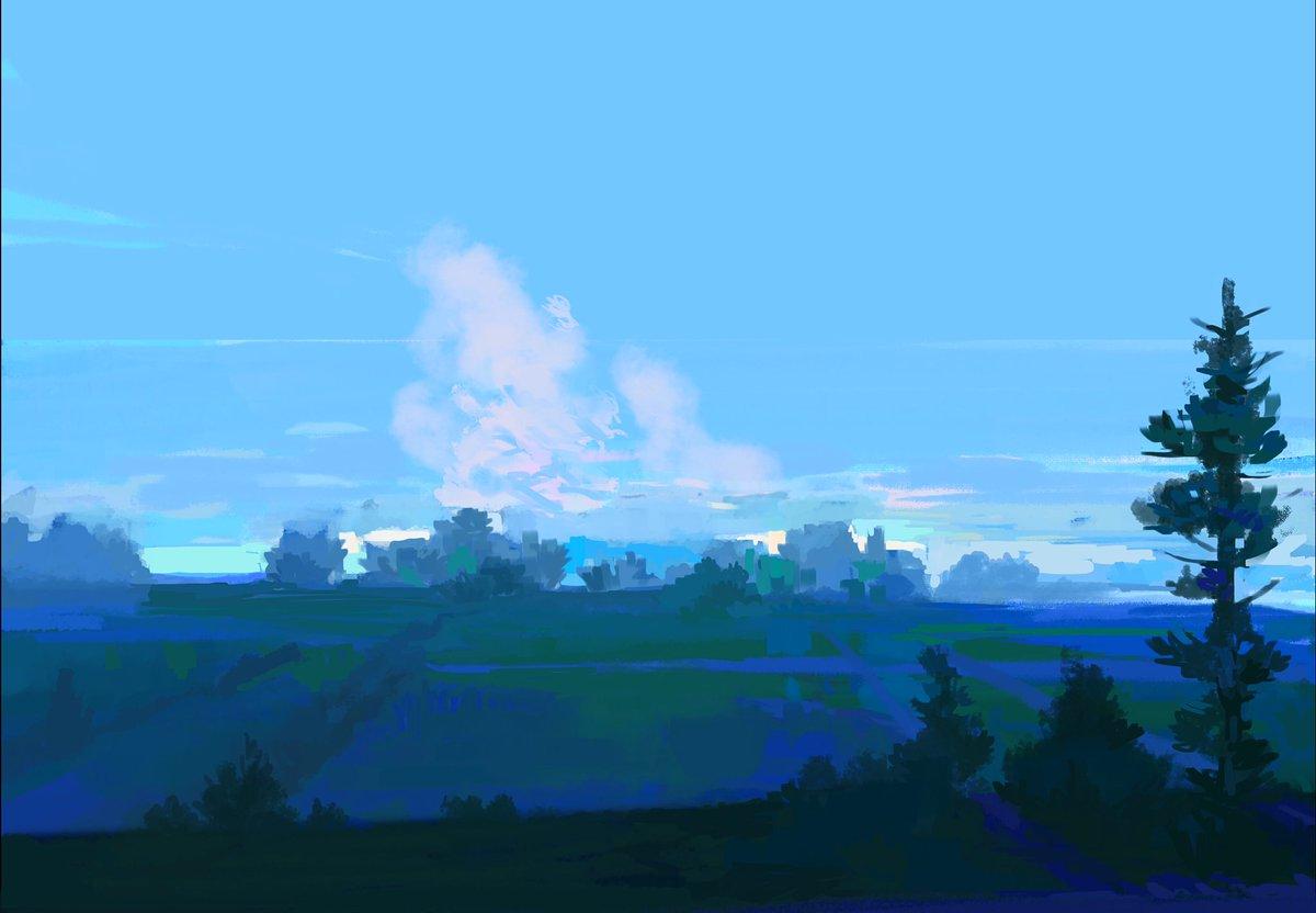 Day 10 ! Still got it !  #CONFINEMENTJOUR10 #cestlong #illustration #bleu #sunset #painting #digitalpainting #challenge<br>http://pic.twitter.com/vBcahSsiPi
