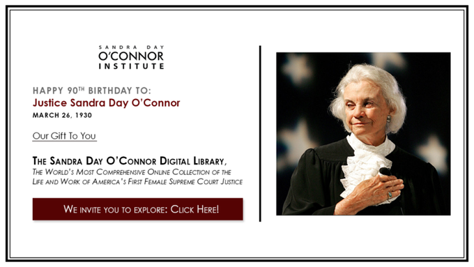 Happy birthday much admired Justice Sandra Day O\Connor so honored to have met you twice :-)