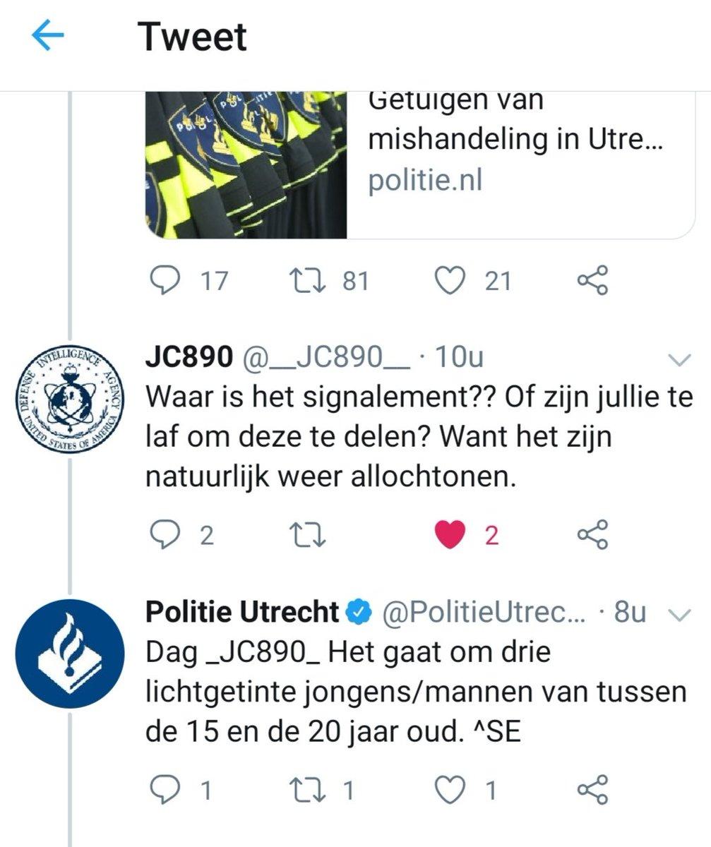En jawel, wat ik al vermoedde: De drie 'jongens' die in Utrecht voorbijgangers in het gezicht hoesten en daarna een echtpaar dat daar iets van zei mishandelden, zijn -je verwacht het niet- licht getint.???? ..