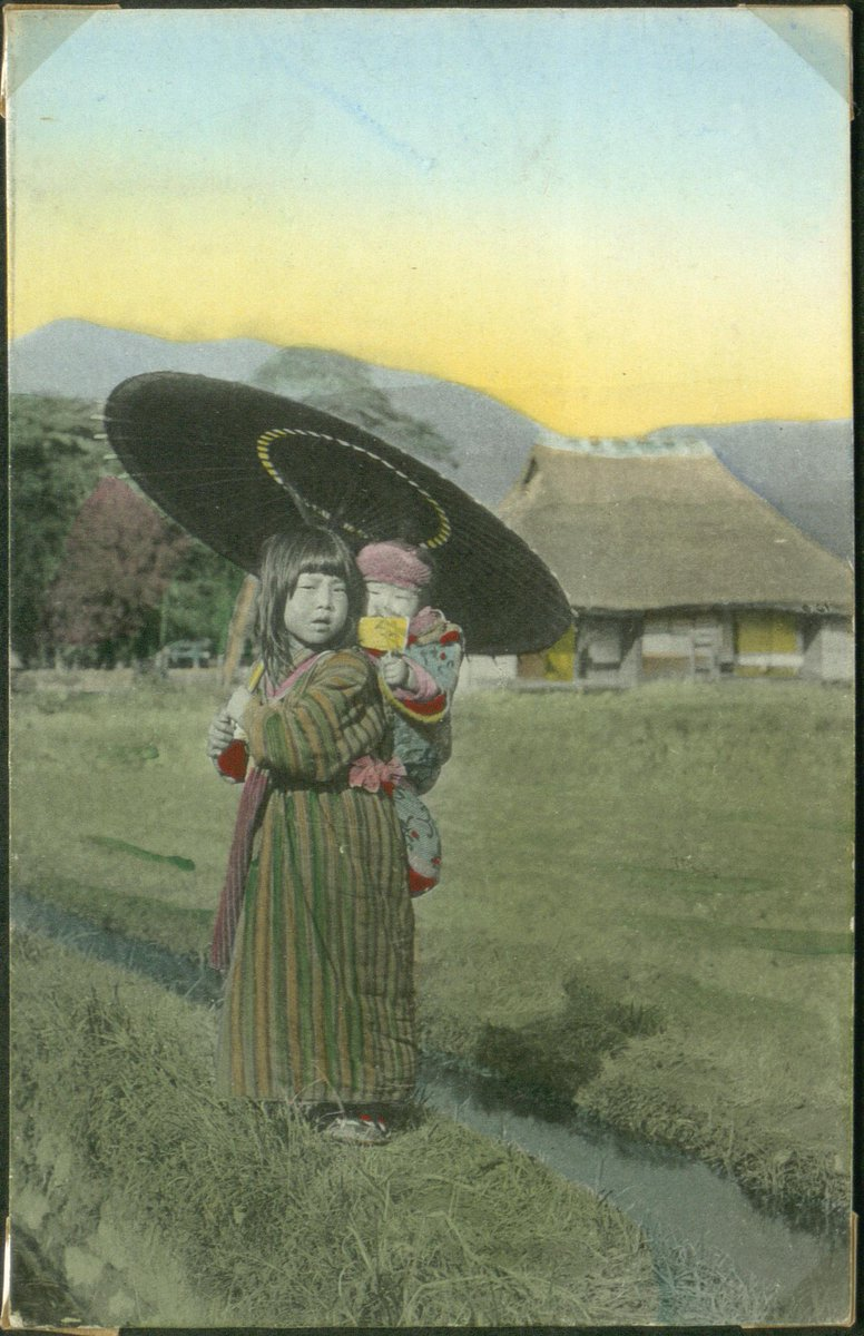 Artist Unknown  Japanese girl with an umbrella and a child in a baby carrier  1860-1910 #HandColouredPhotograph #japan pic.twitter.com/to2m98ozkn