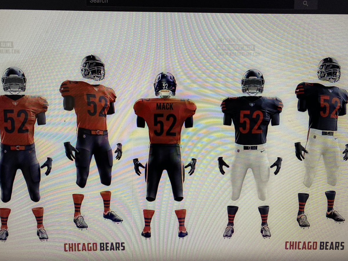 What do you think cams across this on YouTube.  Credit Qehzy channel.  He redesigned a lot of teams I'm liking the grimier orange jerseys. @Qehzy great job #BearsNation #BearsFam #Bears100 @ChicagoBears hire this guy I want these.pic.twitter.com/In0QSL7skj