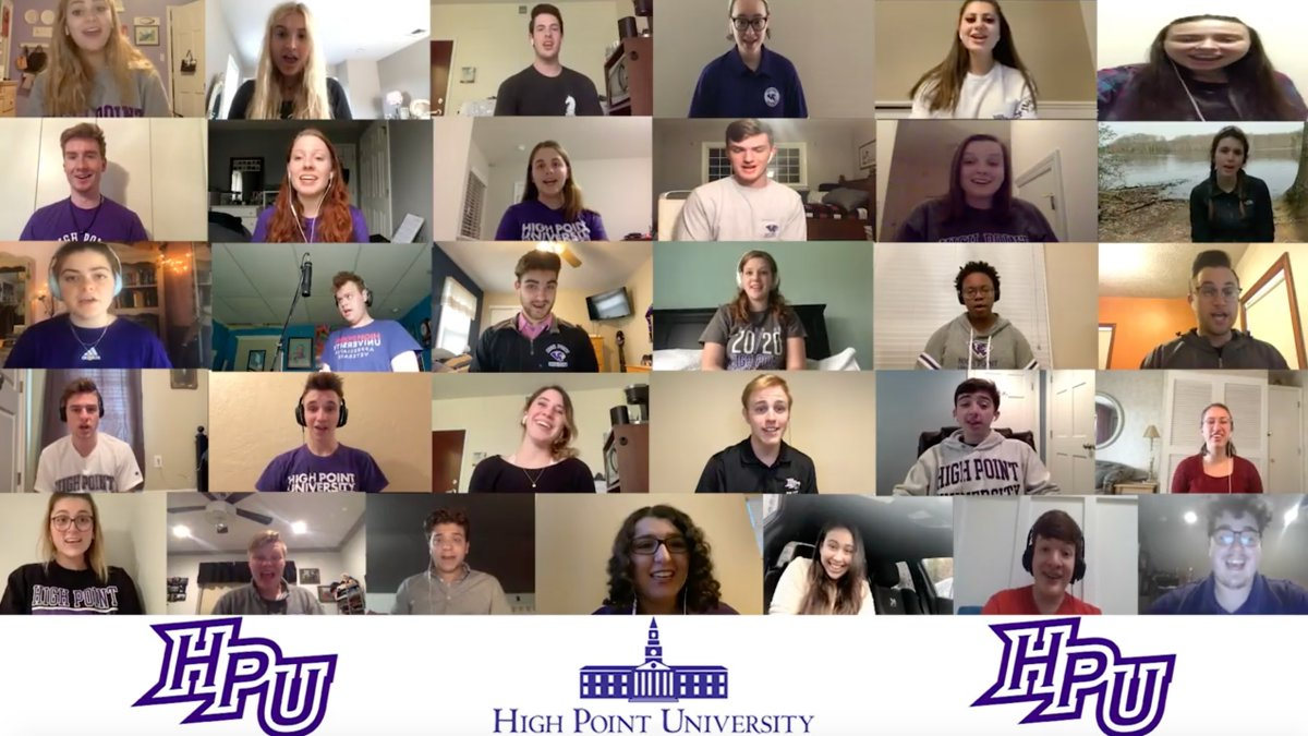 "🎥 The #HPUFamily is not physically together, but we are never truly apart. 💜 As we near the end of the first week of online classes, HPU's Chamber Singers came together (virtually!) to sing ""Great Day,"" an African American Spiritual arranged by Stacey V. Gibbs! 🎶🎤 #HPU365"