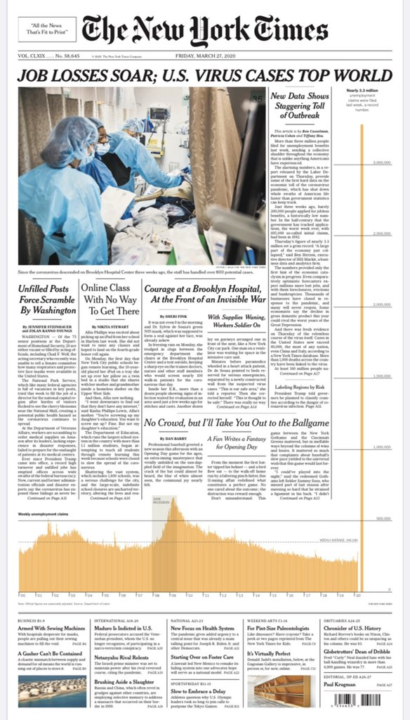 Tomorrow's @nytimes tonight (first edition): Job Losses Soar; Virus Cases Top World #nytimes