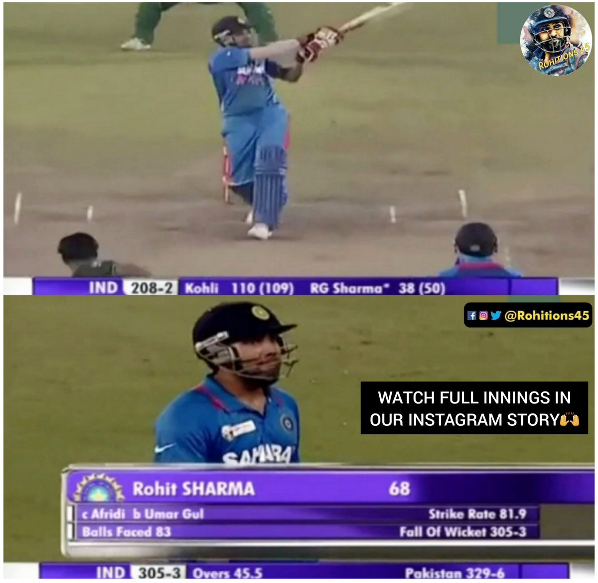 "Rohit Scored 68 Runs In Sachin's Last Odi Game vs Pakistan, Asia Cup 2012 Search "" Rohitions45 "" On Instagram#TeamIndia #rohitions45 #mivcsk #mivscsk #cricketmerijaan #rohitsharma #rohitsharma45 #onefamily #cskvmipic.twitter.com/UeFQOh6sba"