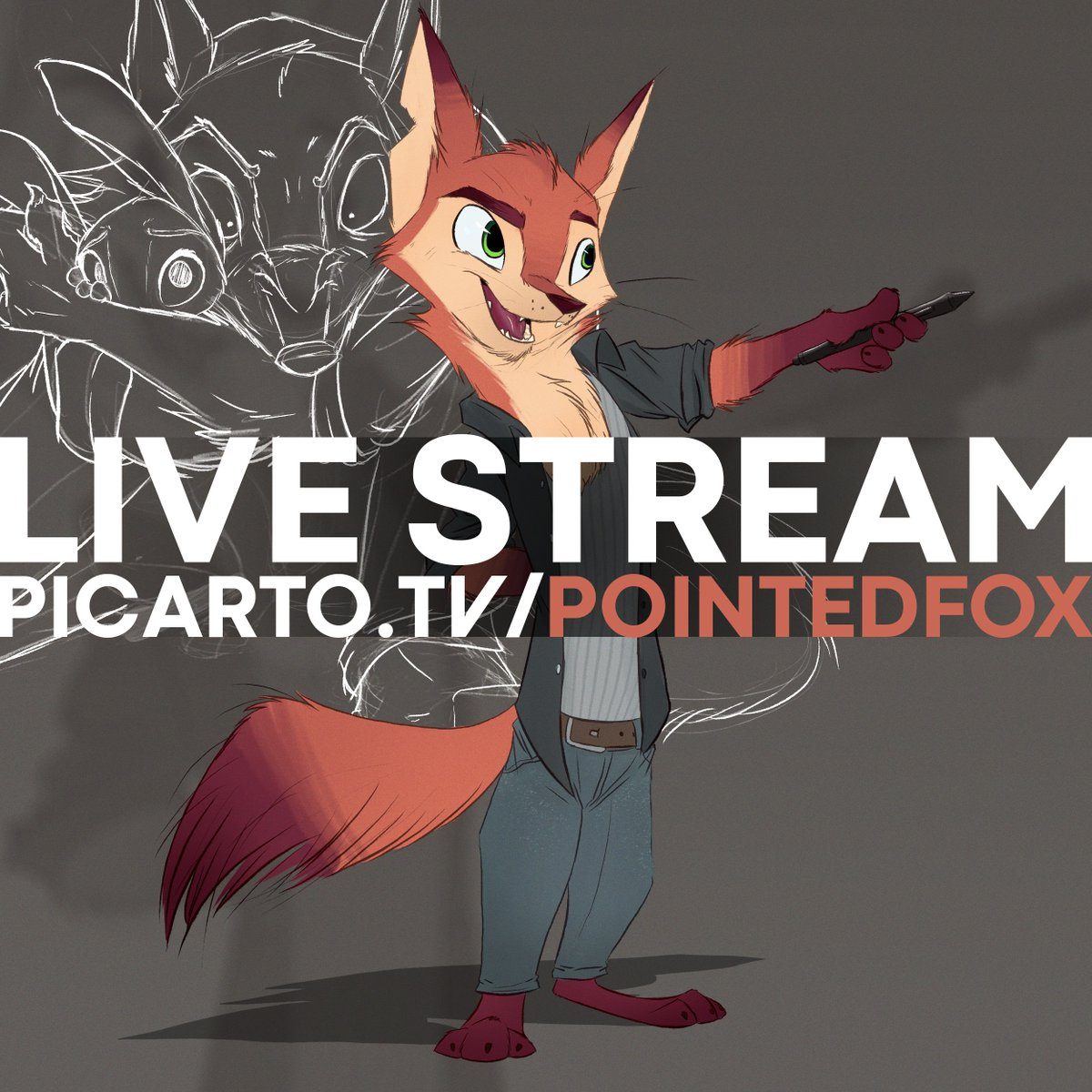 picarto.tv/pointedfox Night owling with @vulpesvant and @PureRubyDragon multi-stream on some Beastars work. 🐺🐰