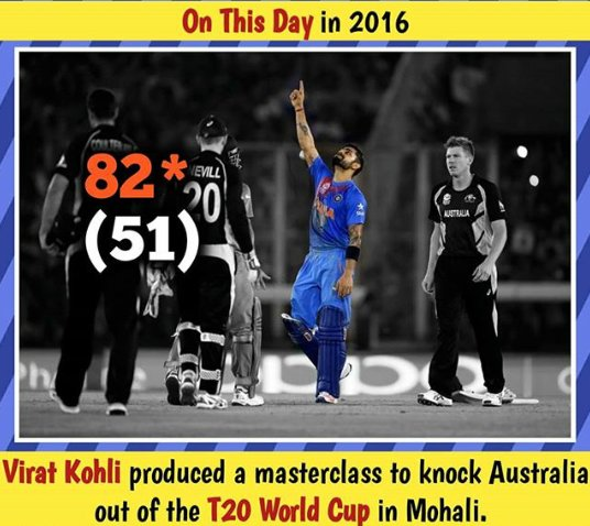 On This Day 2016.!  Virat Kohli Produced A MasterClass To Knock Australia Out Of The T20 World Cup In Mohali.!  Watch it Re - Telecast of the EPIC ICC Men's T20 World Cup encounter Today 6 PM onwards, on Star Sports 1/1HD.  #ViratKohli #TeamIndia #KingKohlipic.twitter.com/JiLmNEHWVw