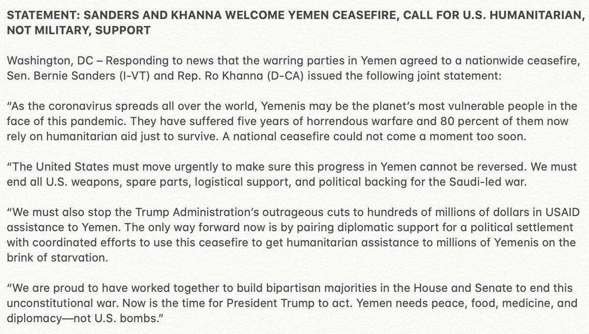 After 5 years of war, and 80% reliant on humanitarian aid for basic survival, Yemenis may be the planet's most vulnerable people in the face of COVID-19.   This ceasefire proves an end to the war is possible.   Yemen needs peace, food, medicine, and diplomacy—not more US bombs.
