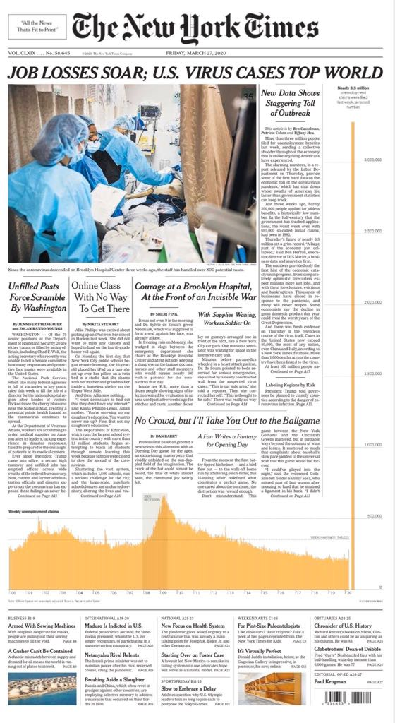 This may just be the best NY Times front page design in its history.
