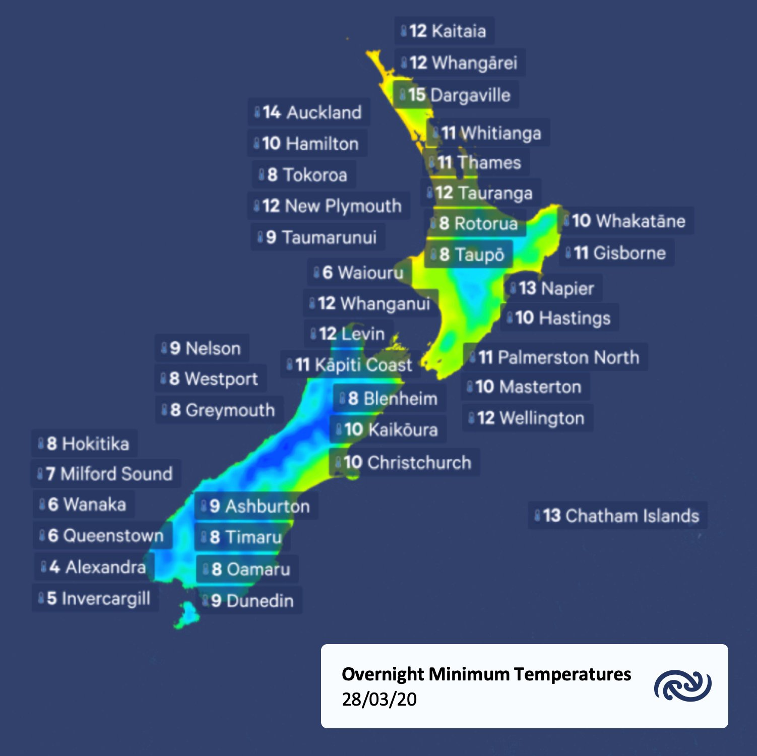 Here is a look at the overnight temperatures. A bit cooler following the southerly!   ^Tui https://t.co/DMg1iAg3rB