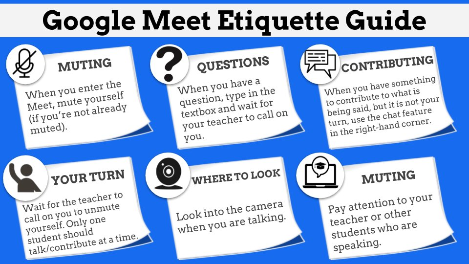 """Christian Long on Twitter: """"Loved this Google Meet/Hangout Etiquette Guide!  I recreated with a different look - what a great tool to set virtual  meeting expectations and protocols with students. Please feel"""