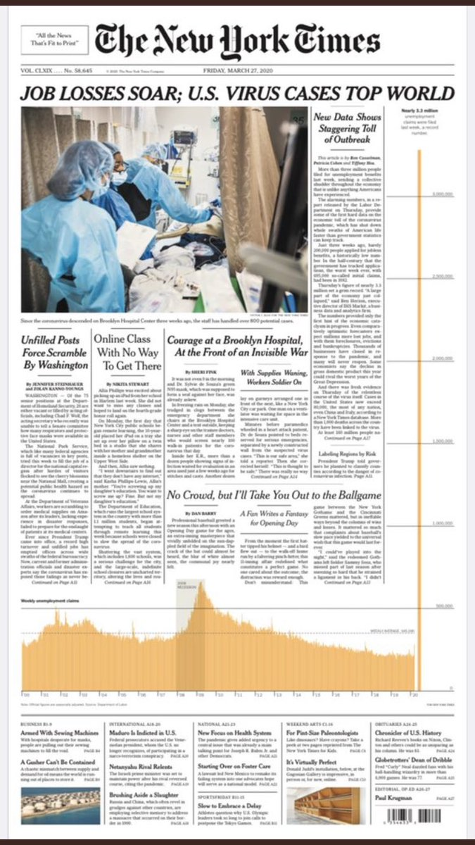 Very unusual @nytimes front page tomorrow to show record 3 million unemployment claims.