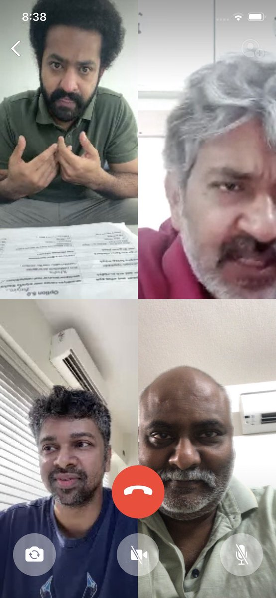 Good Morning ! NTR, SSR, Madhan Karky & Myself. Working from home with obviously much more than 3 ft distance between each of us !! https://t.co/rTlUuENiAX
