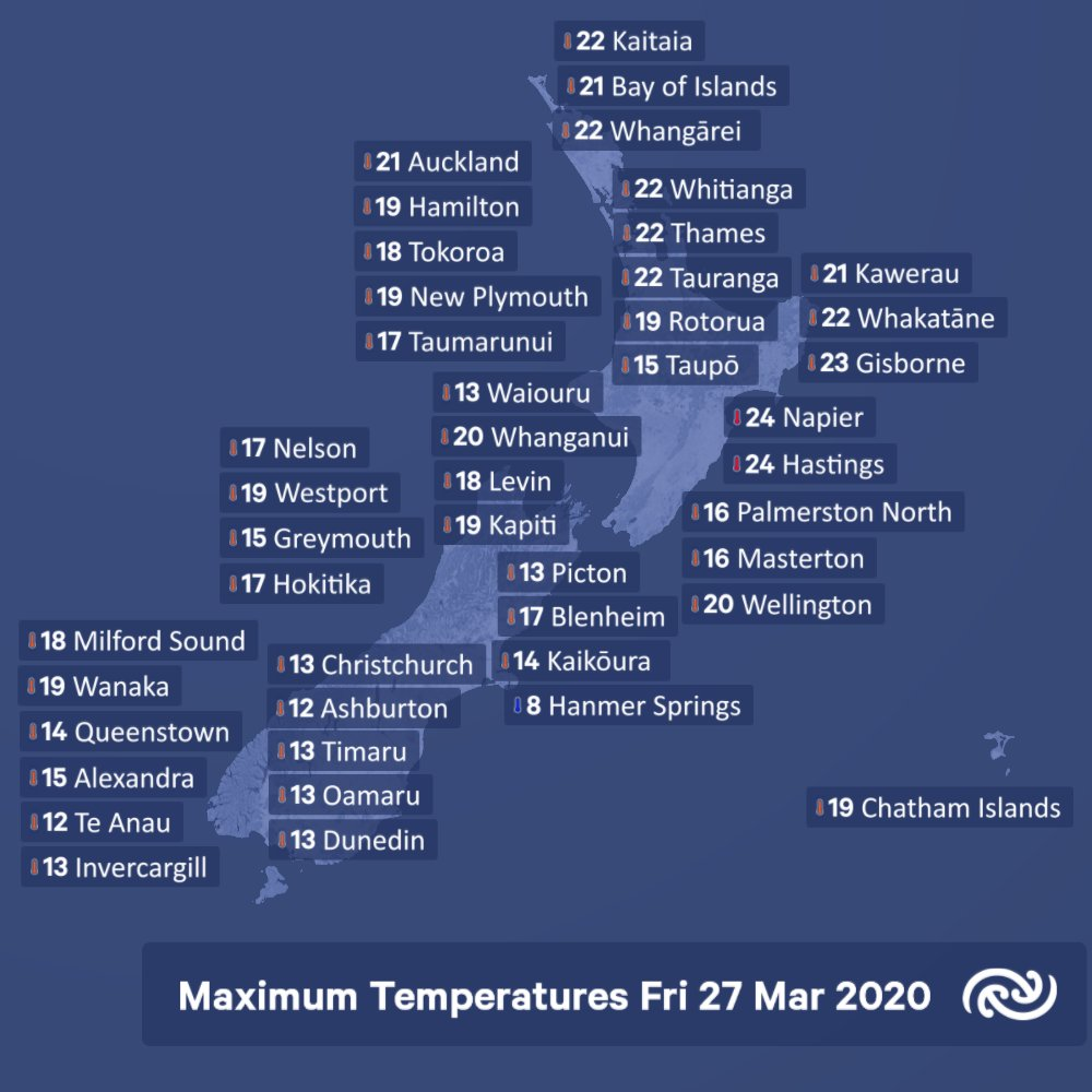 Napier and Hastings climbed to 24 degrees this afternoon. A bit cooler for Hanmer 8. ^JR https://t.co/niuX9Qrxpd