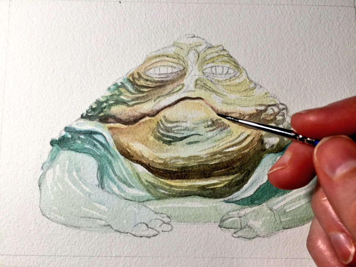 Jabba is so fun to paint! (Reminds me I haven't painted a frog in a long time!) #watercolour #StarWars pic.twitter.com/K0mOBmRa3q