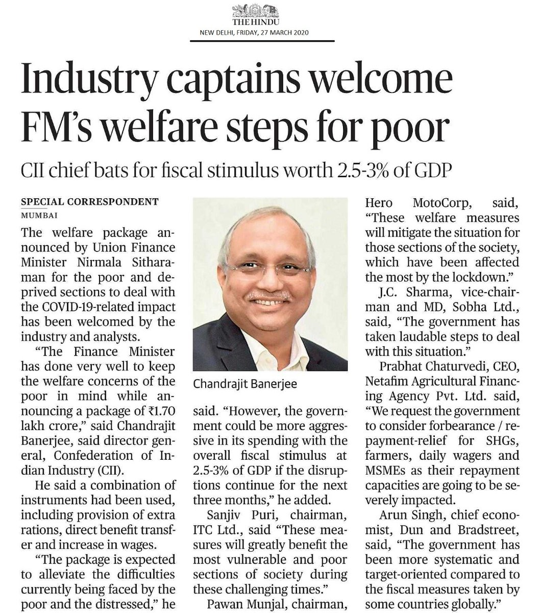 Hon. Finance Minister @nsitharaman  has done very well to keep the welfare concerns of the poor in mind while announcing a package of ₹1.70 lakh crore. ~ @CB_CII , DG, CII welcomes FM's welfare package for poor #cii4india  #IndiaFightsCorona  @nsitharamanoffc   https://www.thehindu.com/business/industry-captains-welcome-fms-welfare-steps-for-poor/article31176152.ece  …
