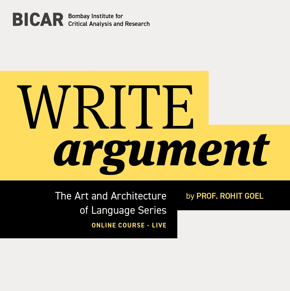#bpbBank: Our favourite Colaba classroom goes online. The Bombay Institute for Critical Analysis and Research (BICAR) continues its writing courses, taking WRITE: Argument, to the web and into your homes.