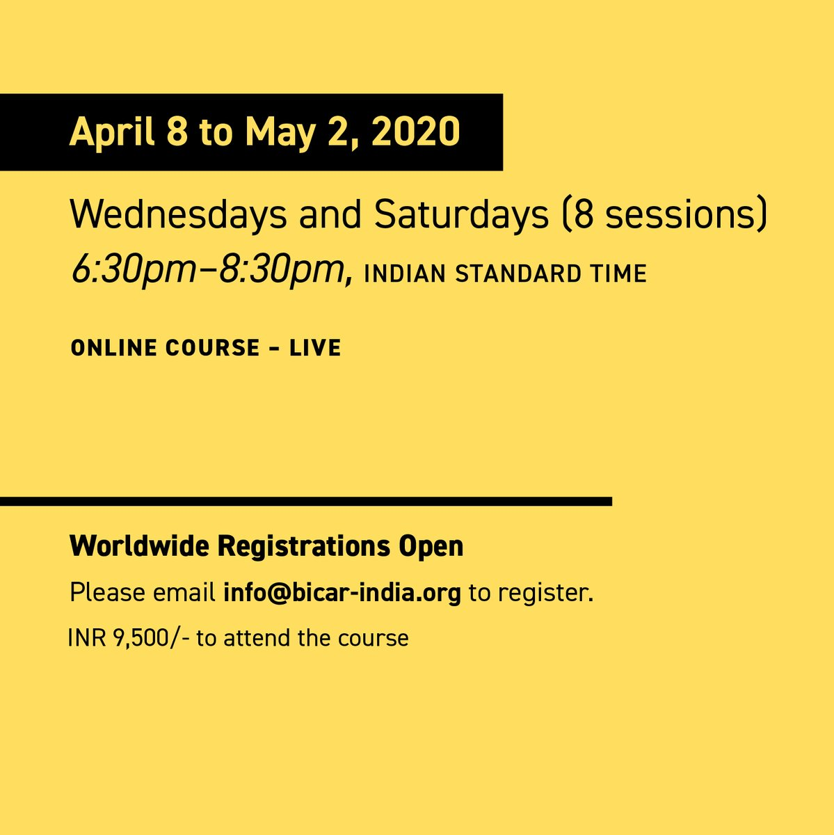 Let former University of Chicago prof Rohit Goel teach you how to write argumentatively; useful for grad school applications, research proposals, newspaper articles + more. 8 classes, April 8-May 2, Rs 9500, sign up: info@bicar-india.org.