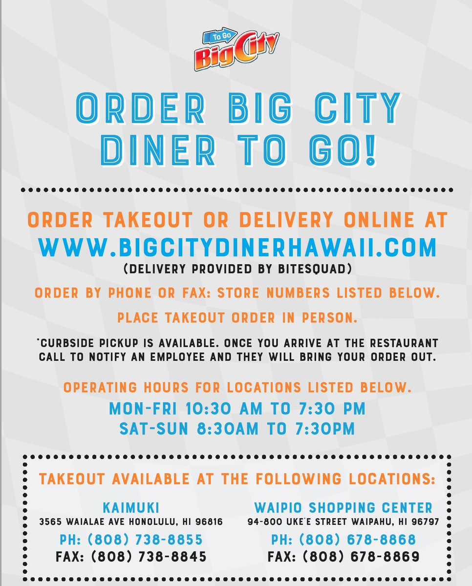 ORDER your TAKE-OUT LUNCH or DINNER from ⁦@BigCityDiner⁩ at @WindwardMall (247-1888) or @KailuaNEWS (263-8880) TODAY! #BigCityDiner #Kailua #KaimukiEATS #Kaimuki #Waipio #WindwardMall #Hawaii #Aloha #TakeOut #Lunch #Dinner #Delish #OnoGrindz #Yum #Steak https://t.co/Lwdm7Eettw