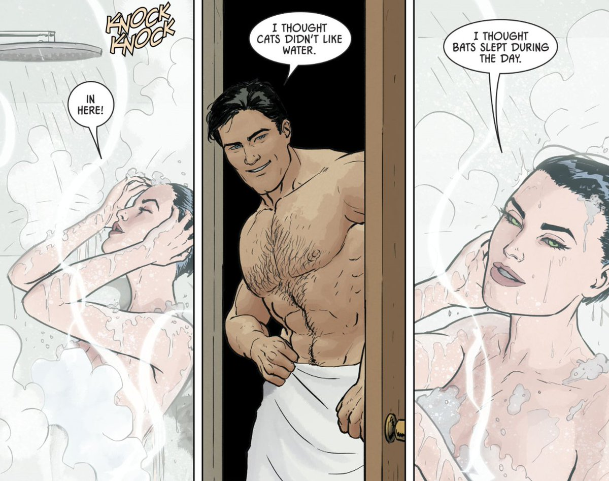 """""""How about a hot shower together, @CrusaderReborn? Let's save some water.""""  #BatCat pic.twitter.com/U7BWJIu76W"""
