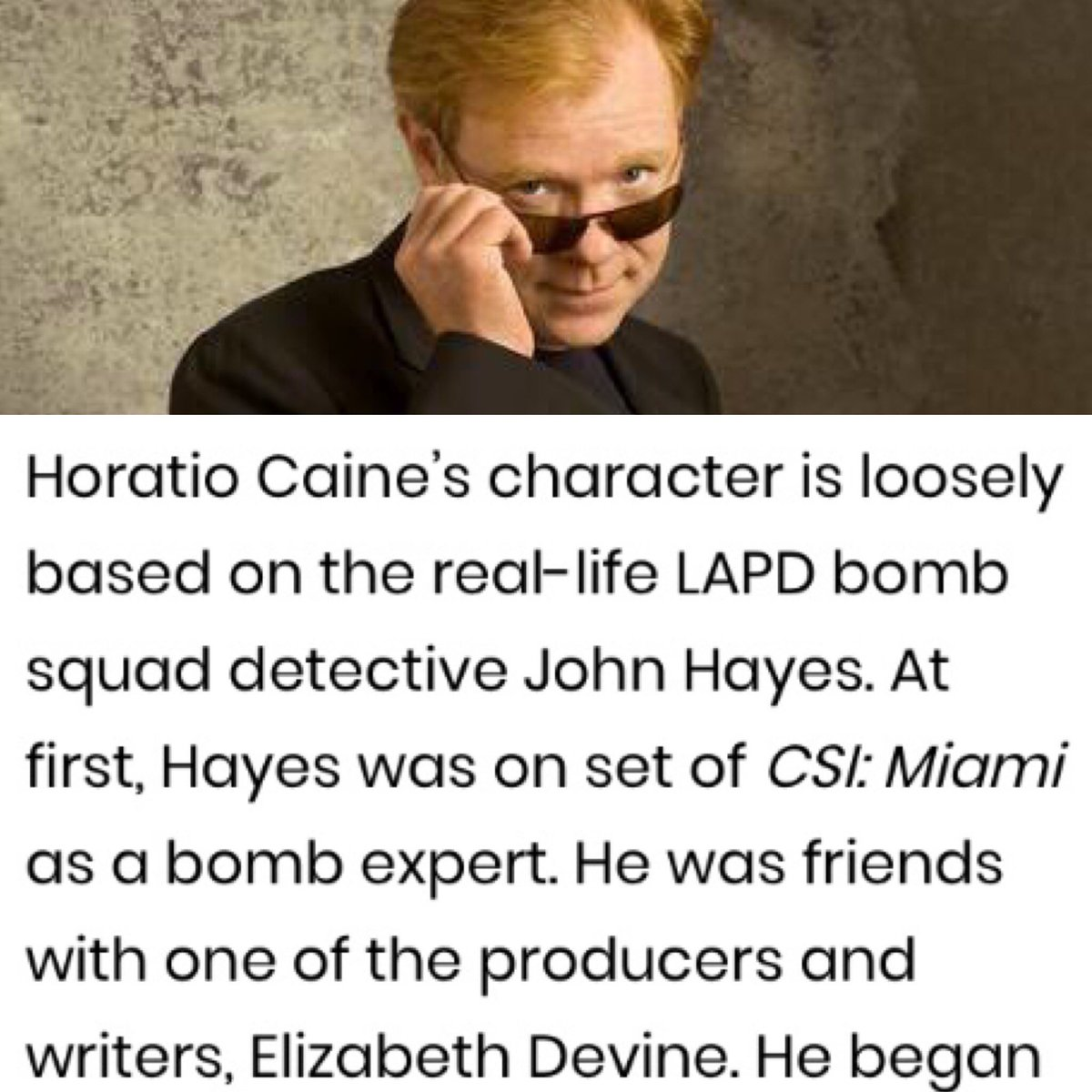 Some #FridayFunFacts @davidcaruso1 played  #JOHNKelly & #MichaelHAYES AND #HoratioCaine which character is based on John Hayes... #coincedence?? 😉👍