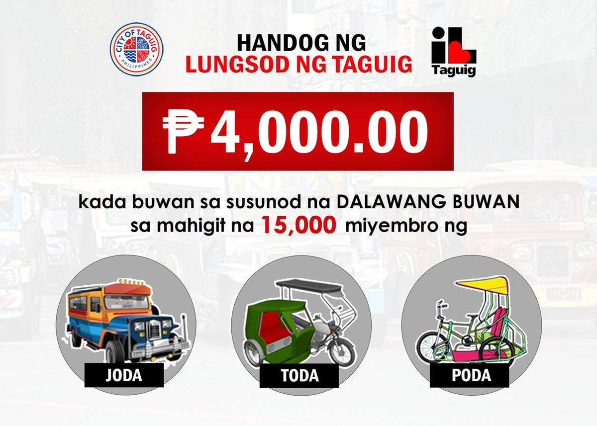 LOOK: Taguig City government will provide cash assistance worth Php 4,000 to more than 15,000 members of Jeepney, Tricycle, and Pedicab Drivers and Operators Association every month within the next two months.