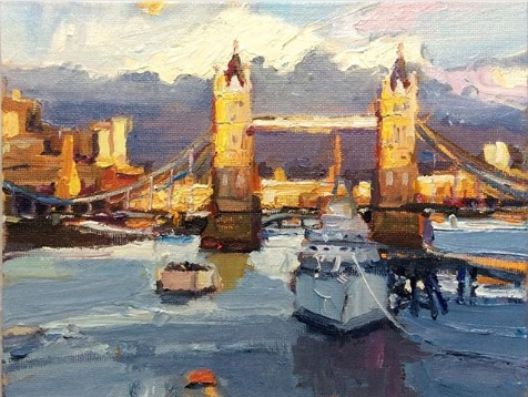 """""""Tower Bridge, Afternoon Light"""", 15X20cm. #abstractexpressionist #artspace #paint #gallerypic.twitter.com/sPFA4s1FNI"""