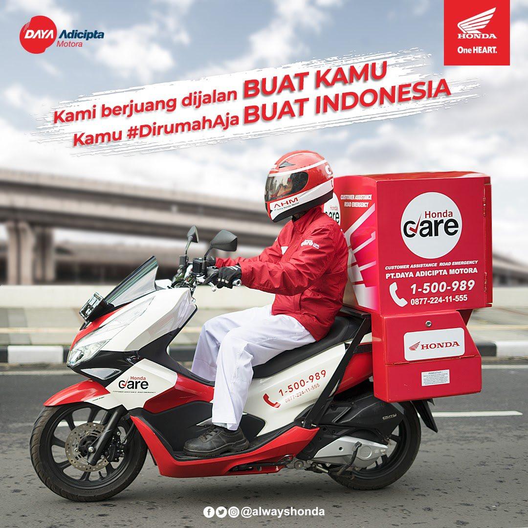 Honda CARE akan selalu berjuang dijalan untuk kalian para #TemanSehati , kamu tetep #DirumahAja untuk Indonesia ya brosis.  Jangan lupa simpan nomor layanan Honda Customer Care Center 1 500 989 atau (022) 605 1000. Siapa tahu brosis butuh bantuan, Honda CARE langsung meluncurpic.twitter.com/M7n0iD7wQR