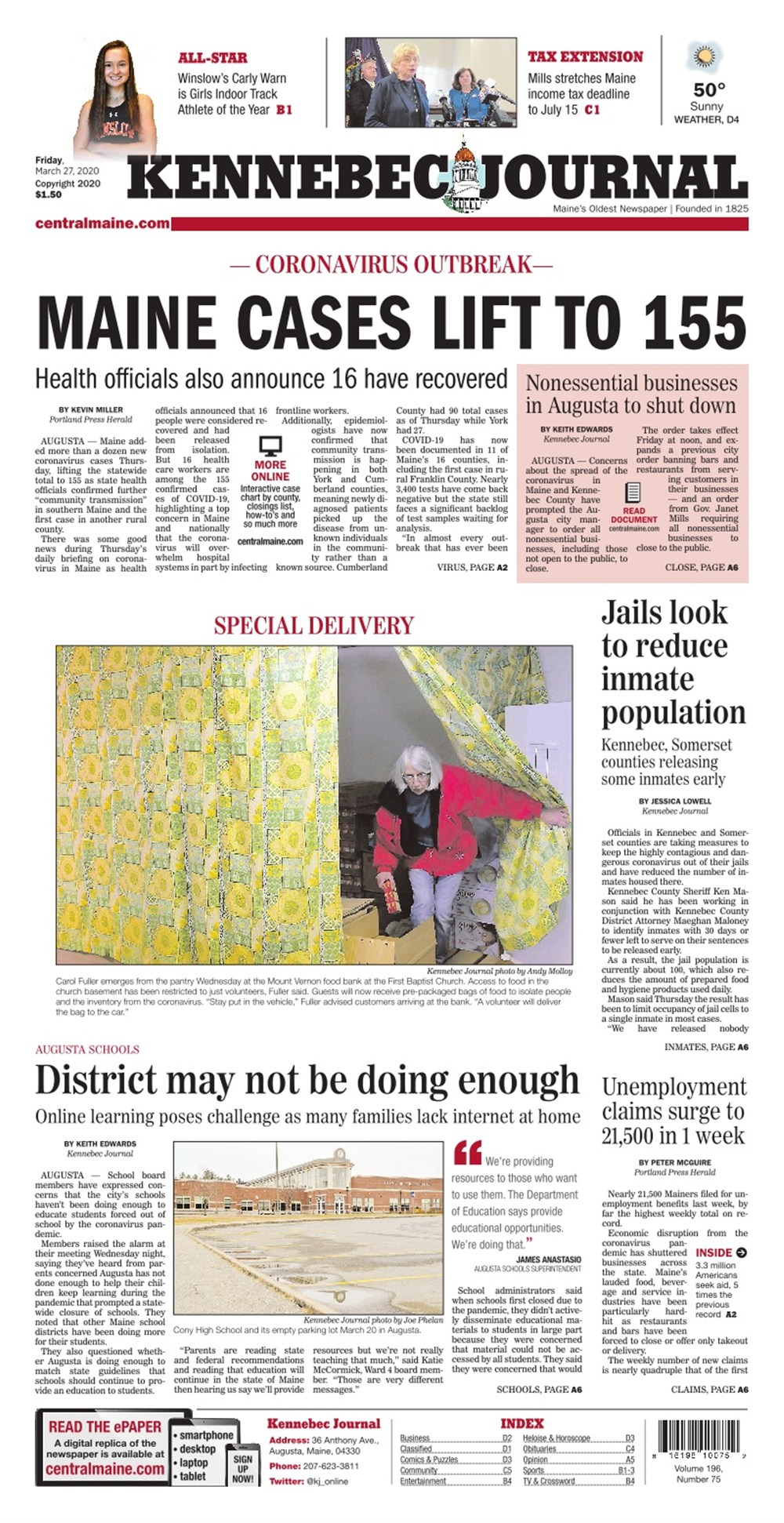 Kennebec Journal On Twitter Today S Kennebec Journal Front Page Friday March 27 2020 Https T Co Ovqieewq2x Https T Co Fgezjh33pw Accurate 12 day weather forecasts for thousands of places around the world. twitter