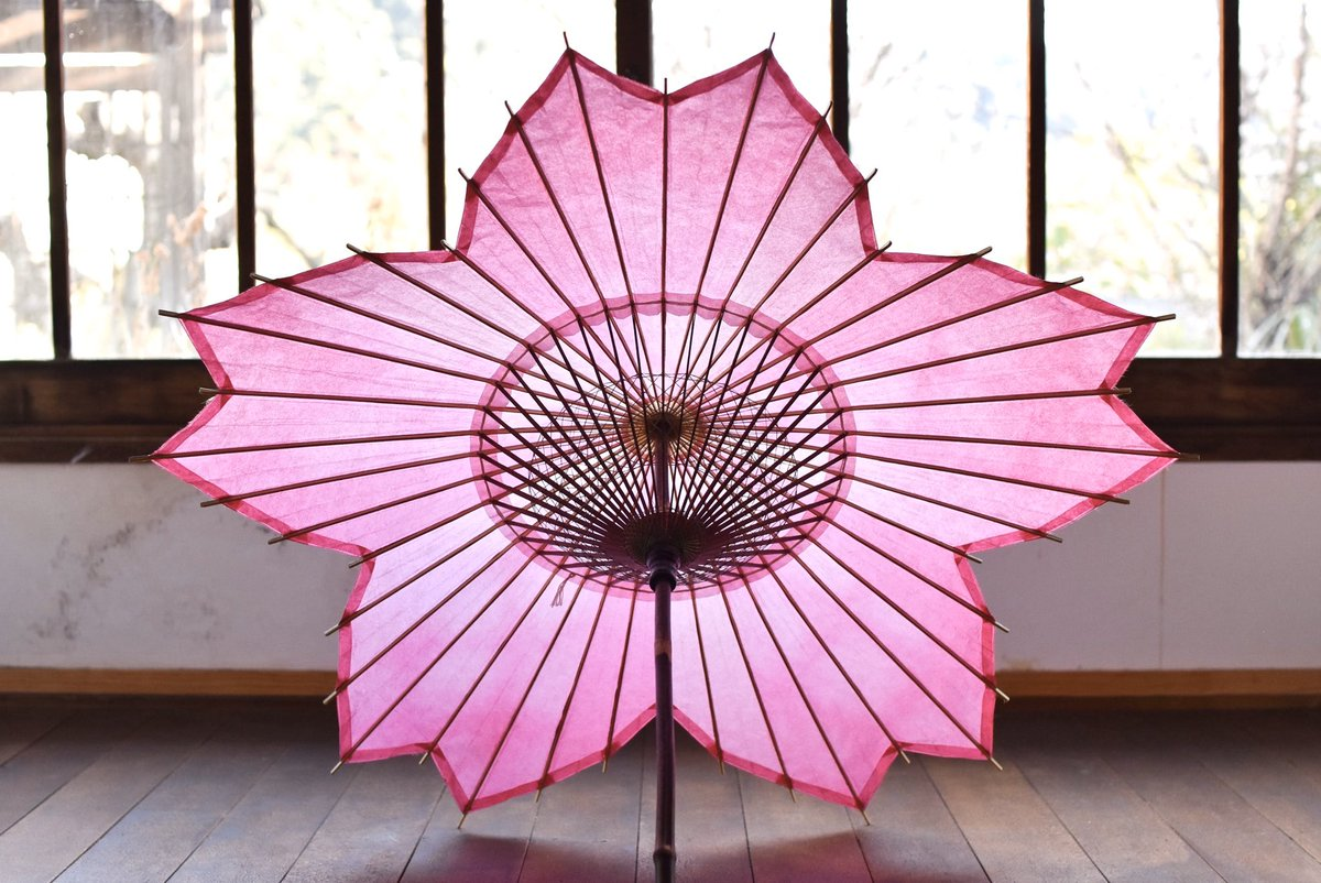 【桜和傘 折り染め】折り染という技法で染色した和紙で制作しています。写真では伝わりにくいですが、内側から覗くと折り染の濃淡に光が滲んでとても瑞々しく感じます。