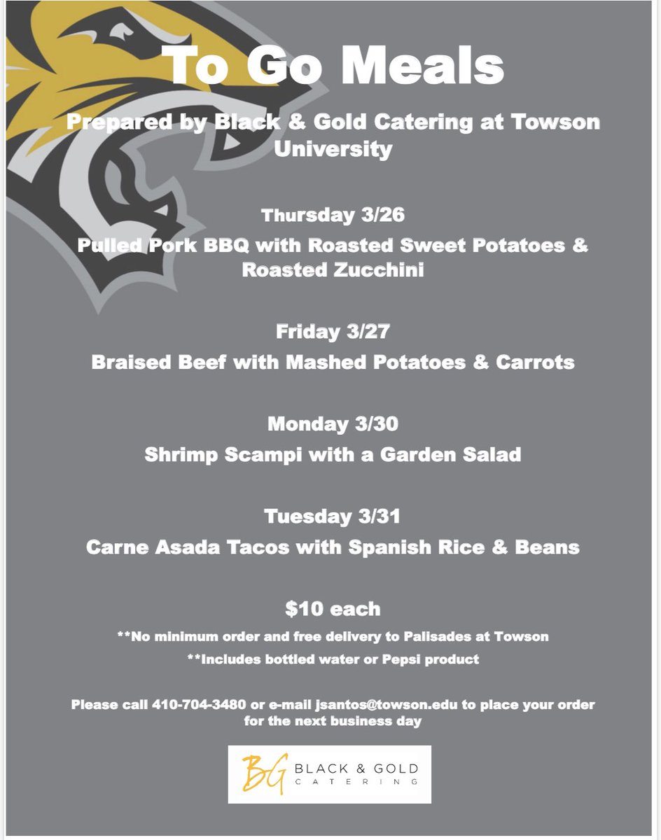 FYI-Black & Gold is offering to go meals! Here's what they're serving up til next Tuesday 🍽