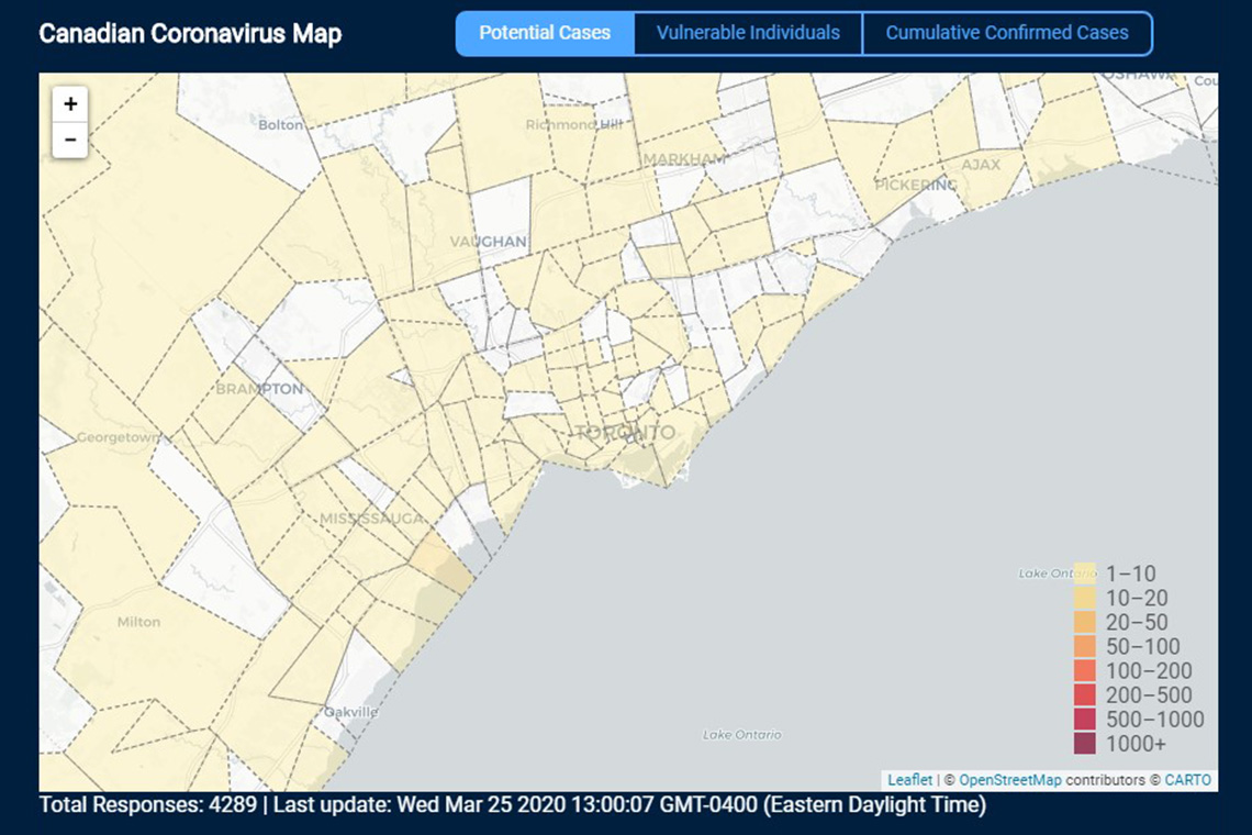 #UofTCOVIDResearch: #UofT students from @UofTEngineering create online map to help track the spread of #COVID19  https://uoft.me/5fN pic.twitter.com/3RsvZDE48P