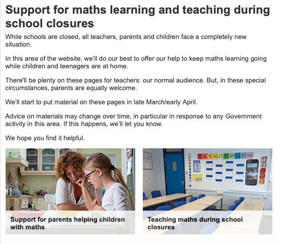 It is so humbling to see the #maths teaching community respond so constructively during these circumstances 💙. The @NCETM will be providing a range of support for both teachers and parents. Keep your eye out next week for updates! https://t.co/UwD40Q05F4 #HomeLearning