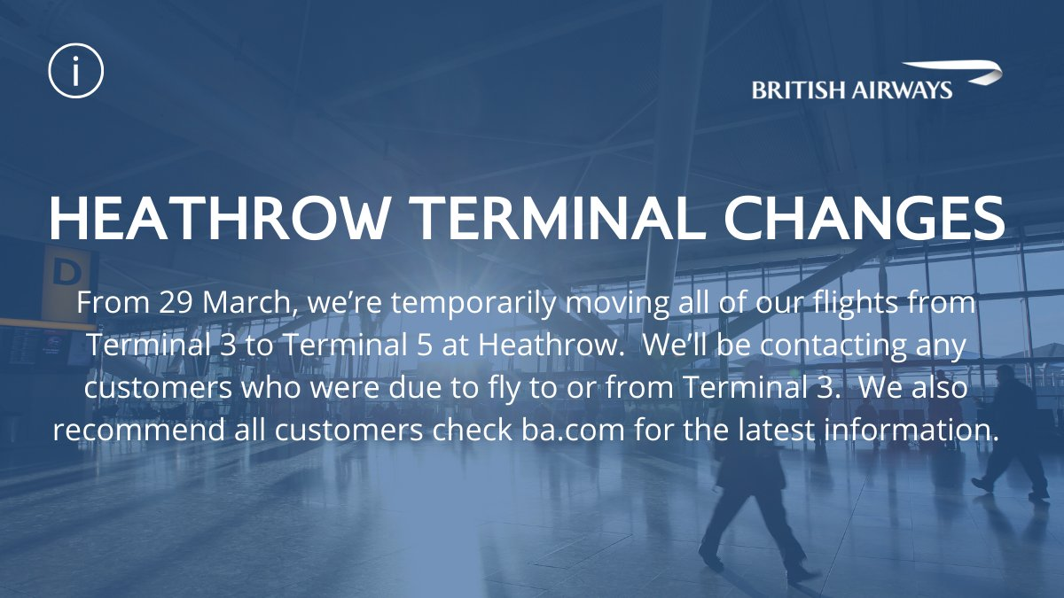 We are temporarily moving all of our flights at Heathrow Terminal 3 to Terminal 5 from Sunday. If your flight is affected, we will be in contact by email to make sure you are kept up to date. https://t.co/sguRVvDfLO