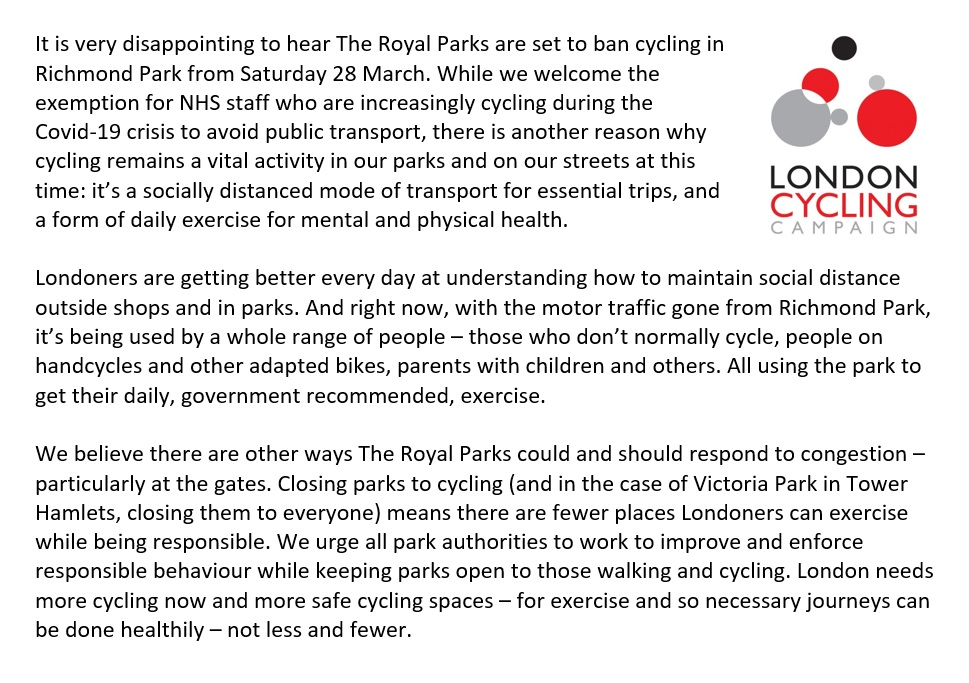 Our response to @theroyalparks closing Richmond Park & other authorities closing parks.