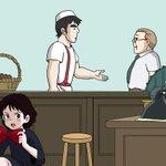 【魔女の宅急便×名探偵コナン】外国人客を対応するフクオさんを手助けするキキ