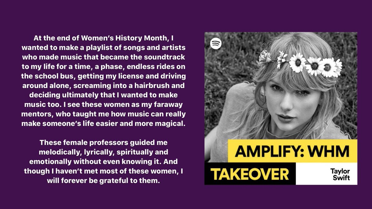 My Women's History Month playlist is nostalgic comfort vibes by women I adore  @Spotify  https://taylorswift.lnk.to/SpotifyWHM pic.twitter.com/I5jQCZy8G1