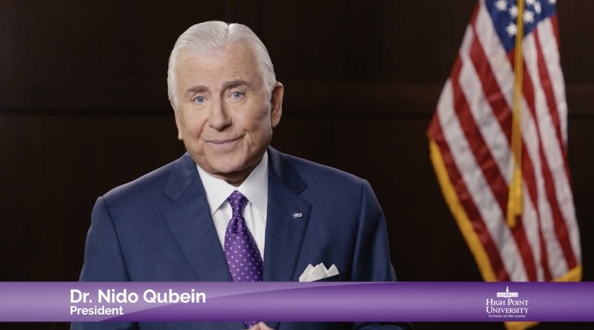 Students, as you conclude your first week of online classes, please enjoy this video message from Dr. Qubein on the importance of being disciplined and using positivity to achieve greatness. 💜📚💻 #HPU365 #HPUFamily