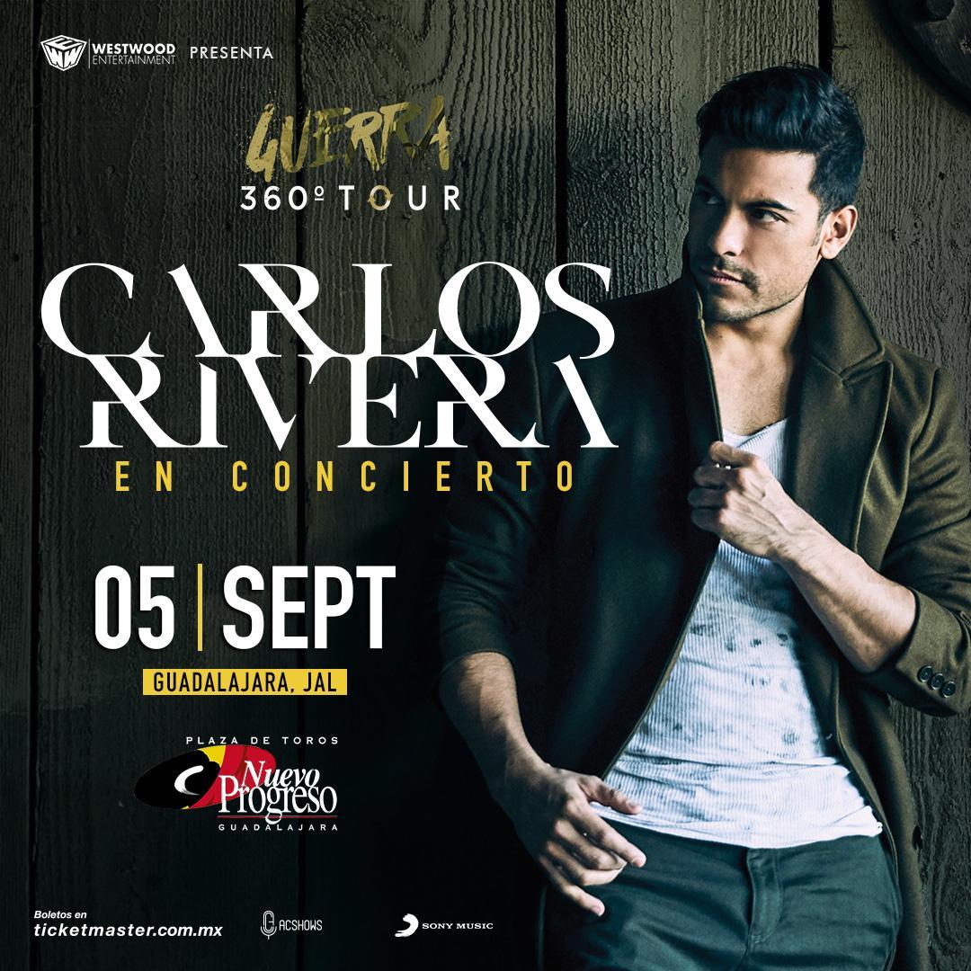 ⚠️REAGENDADO⚠️@_CarlosRivera llegará con un show único de 360° el 5 de Septiembre a la Plaza Toros @NvoProgresogdl #Guadalajara   Boletos por @Ticketmaster_Me ➡️ https://t.co/ekgJLW2EDd  Los boletos ya adquiridos son válidos para la nueva fecha!! https://t.co/tBlvtVlhK5