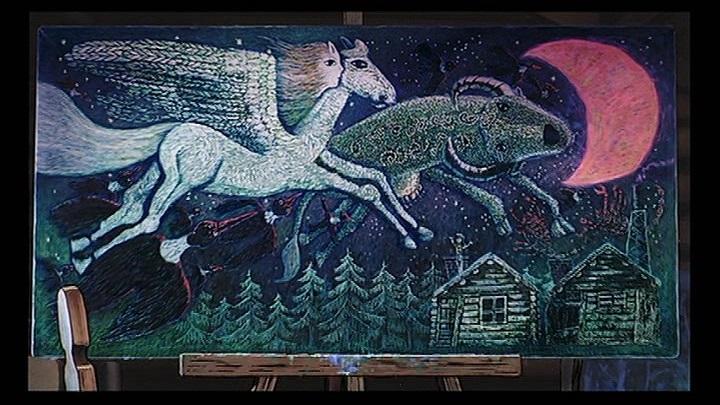 ウルスラの絵は青森県八戸市立湊中学校養護学級による木版画「虹の上をとぶ船」が元絵です。同シリーズの『星空をペガサスと牛が飛んでいく』を写真撮影し、そこに男鹿和雄さんが油絵風のタッチを加え、そこにウルスラがキキをイメージした少女の顔を加筆して出来たものです。#魔女の宅急便