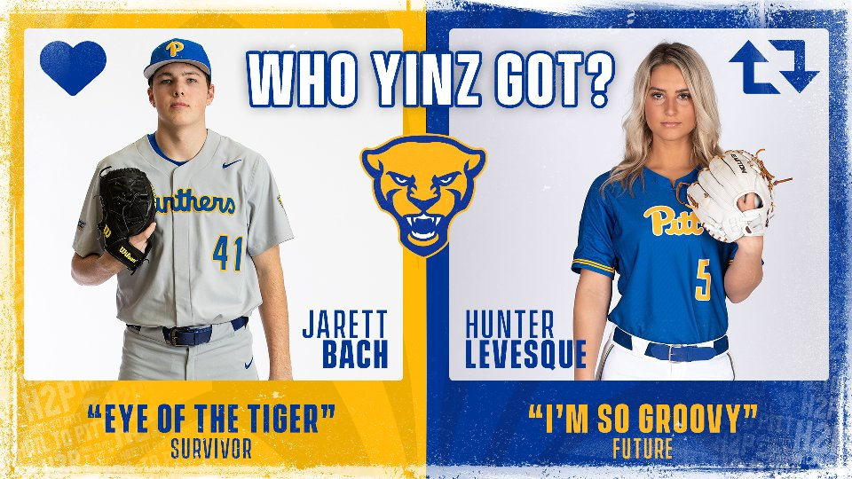 """On to the round of  3️⃣2️⃣ for Who Yinz Got? 🎶  @jarett_bach & Survivor's Eye of the Tiger face @Pitt_SB @hunterrlevesque @1future """"I'm so groovy.""""  Click here to listen to all of the songs in the challenge: http://spoti.fi/2UDX5zk  Like 💙 for Jarett, retweet 🔁 for Hunter.  #H2P"""