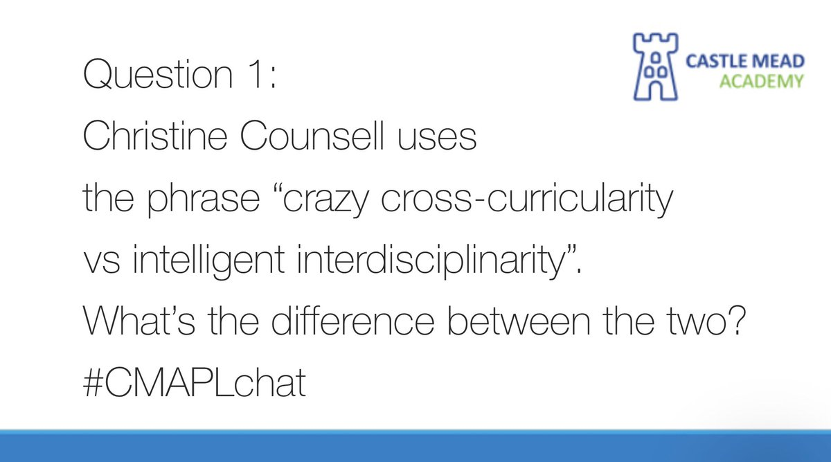 And we're off! Question 1 #CMAPLchat