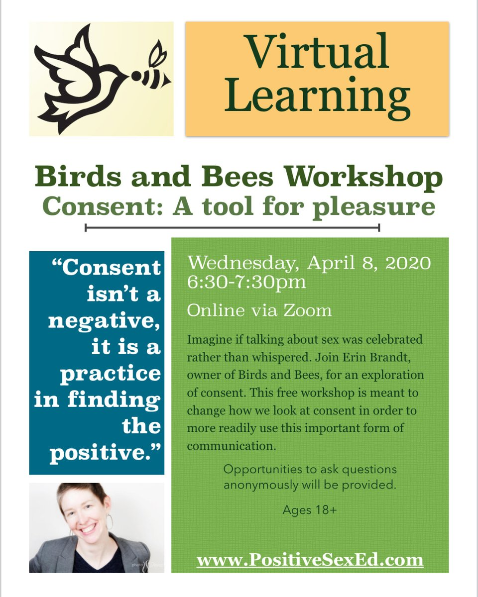 Join me for a free online workshop to learn more about consent and how you can use it in your friendships and relationships!  Register here for the link: http://ow.ly/3keE50yWL2z   *Share widely! #BirdsAndBees #PositiveSexEd #SexCoach #VirtualLearning #Consent #Pleasurepic.twitter.com/H4TTxiGHG9