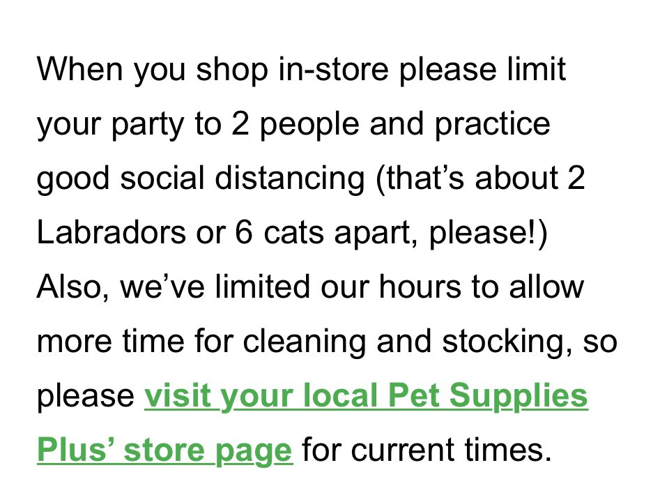 Great #SocialDistanacing advice from @petsuppliesplus in #CherryHillNJ pic.twitter.com/H09BP9MmvJ