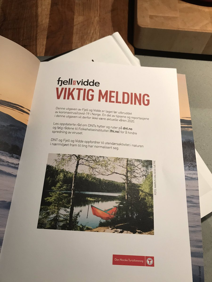 @JonLaake Fjell og Vidde har lang produksjonstid og gikk i trykken før Korona-krisen brøt ut. Men vi klarte å få inn et innstikk på side 3 som forklarer akkurat det.