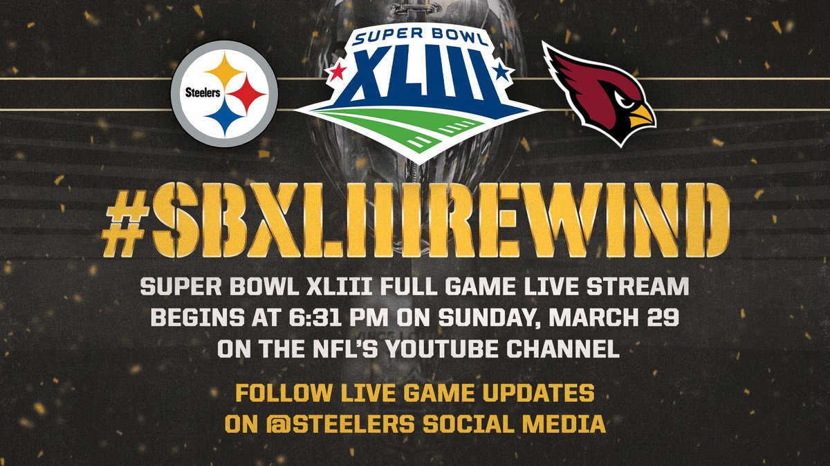Were going to make this Sunday SUPER by reliving #SBXLIII! Watch live on @NFL's YouTube & follow along on #Steelers platforms! Pregame coverage on #Steelers social: 3 pm Kick-off time: 6:31 pm 📺: bit.ly/SBXLIIIRewind #HereWeGo | #SBXLIIIRewind